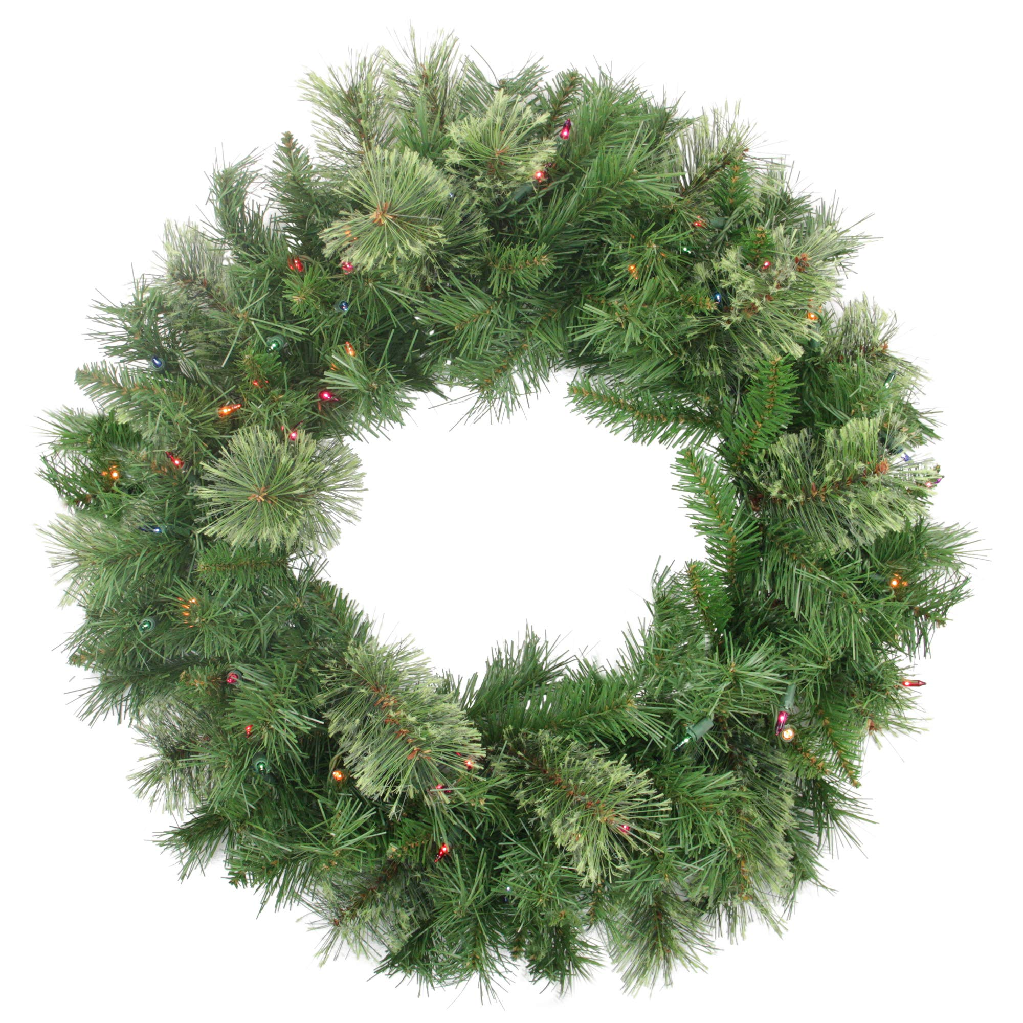 NORTHLIGHT Z84474 24'' Pre-Lit Atlanta Mixed Cashmere Pine Artificial Christmas Wreath-Multi-Color Lights