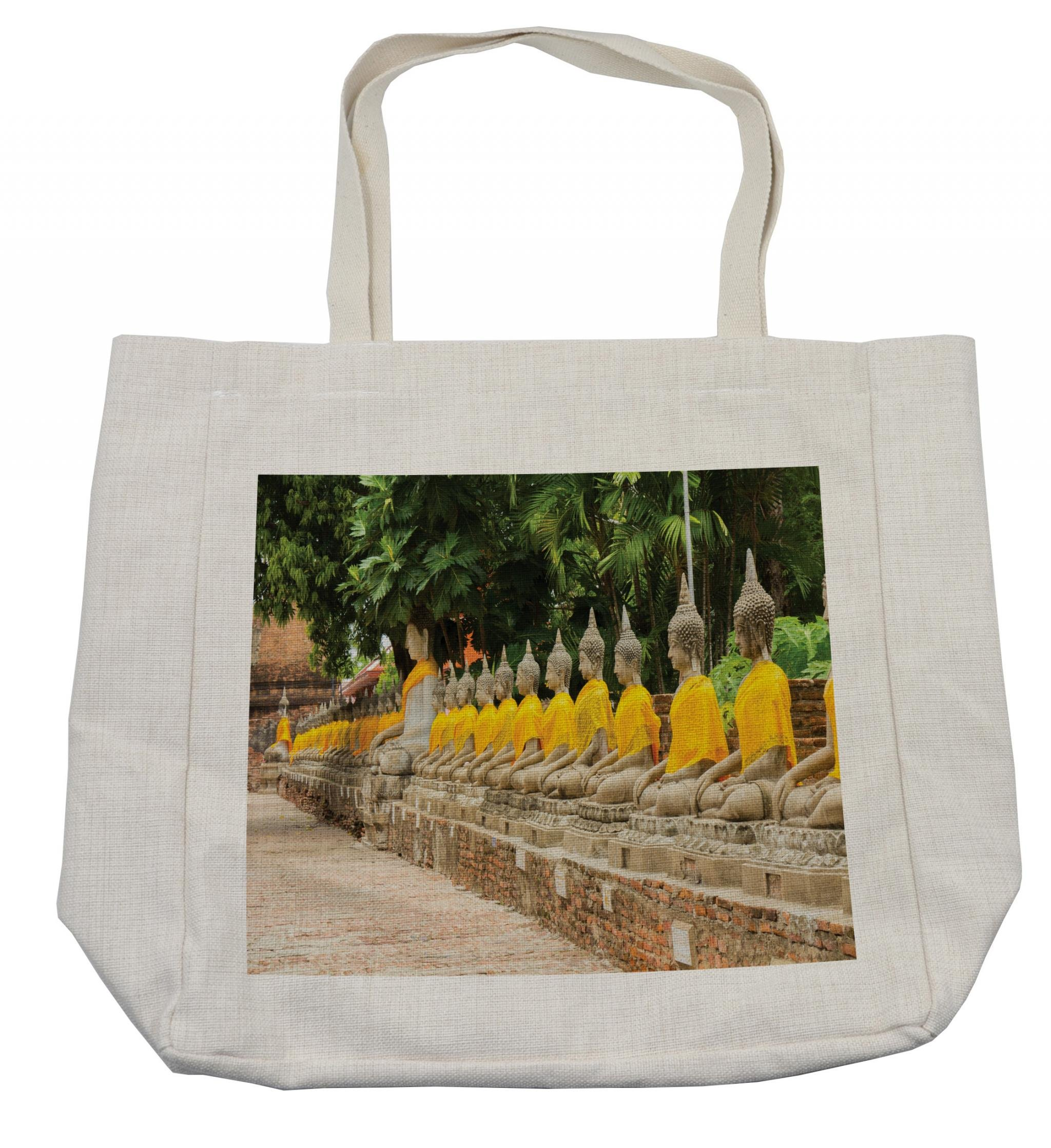 Ambesonne Asian Shopping Bag, Picture of Aligned Religious Statues in Thailand Traditional Thai Design, Eco-Friendly Reusable Bag for Groceries Beach Travel School & More, Cream
