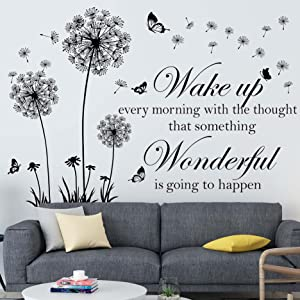 Dandelion Wall Decal Stickers Inspirational Wall Decals Quotes Motivational Sayings Wall Decor Sticker Flying Butterfly Flower Wall Decals Living Room Bedroom TV Background Wall Art Decor