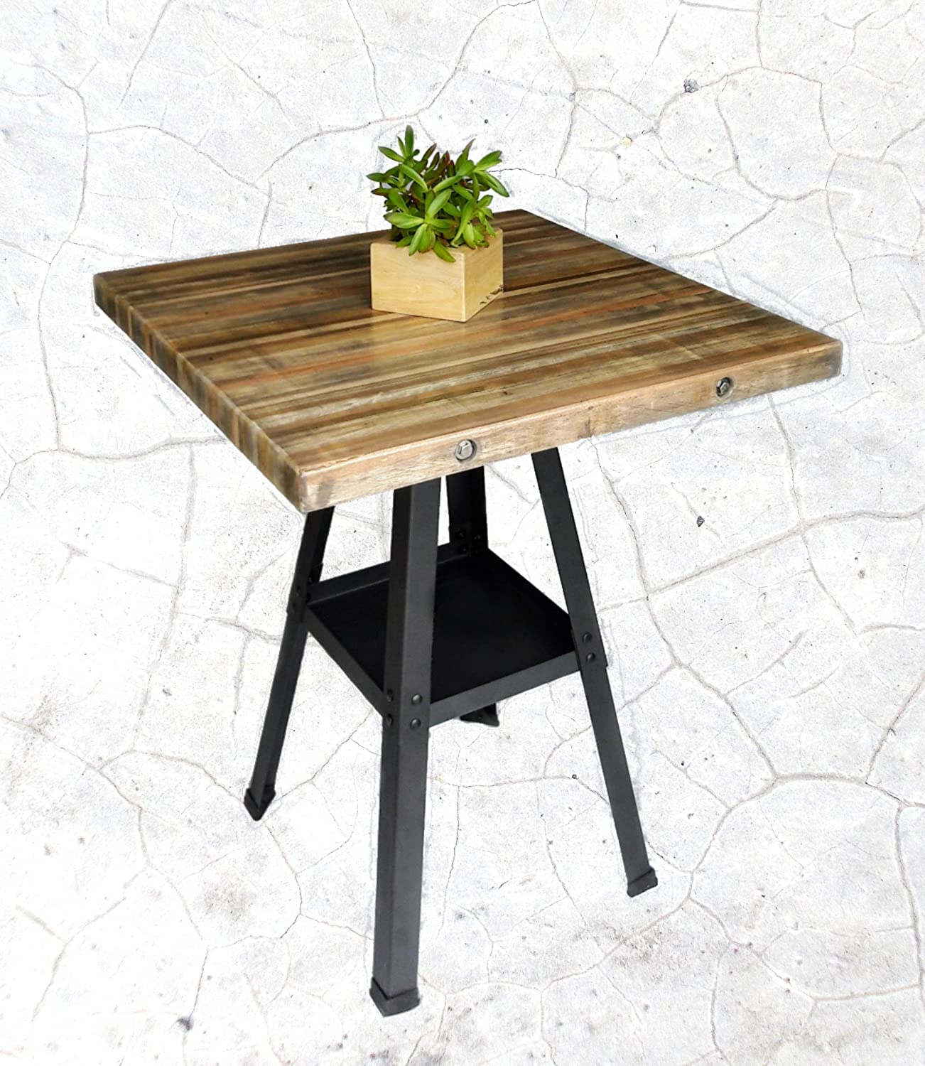Amazoncom Industrial Counter Height Table Reclaimed Stacked