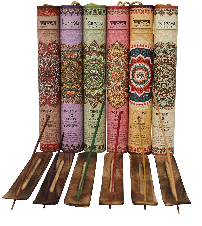 Interior design home fragrance gift set - Amazon Com Premium Incense Sticks Lavender Sandalwood Jasmine Patchouli Rose Vanilla Variety Gift Pack 180 Stciks Includes A Holder In Each Box