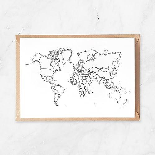 Amazon 5pcs plain outlines world map postcard travel map to 5pcs plain outlines world map postcard travel map to color in world travel gumiabroncs Image collections