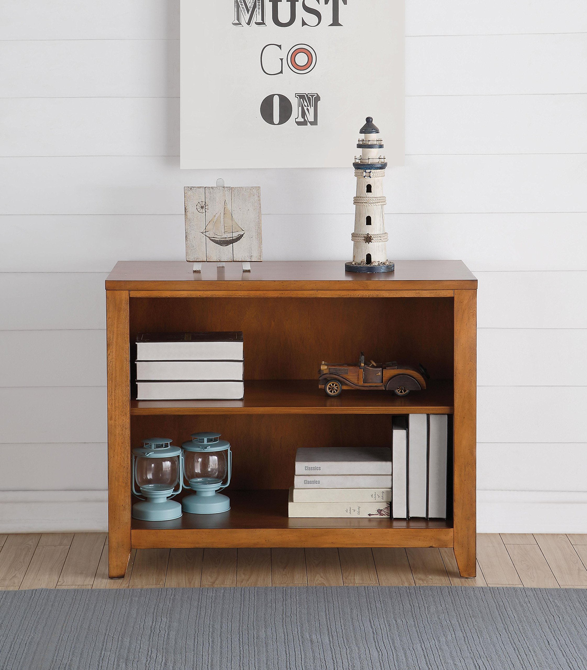 ACME Furniture 30563 Lacey Bookcase, Cherry Oak - Two shelves Chamfered trim Metal knobs - living-room-furniture, living-room, bookcases-bookshelves - 91vpdUU7WSL -