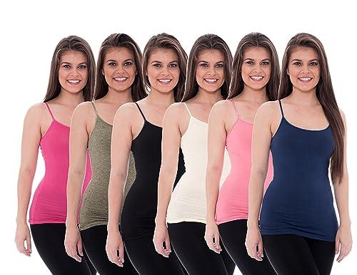 6 Pack Women's Cotton Cami Tanks Ladies Adjustable Spaghetti Strap Camisole Tops