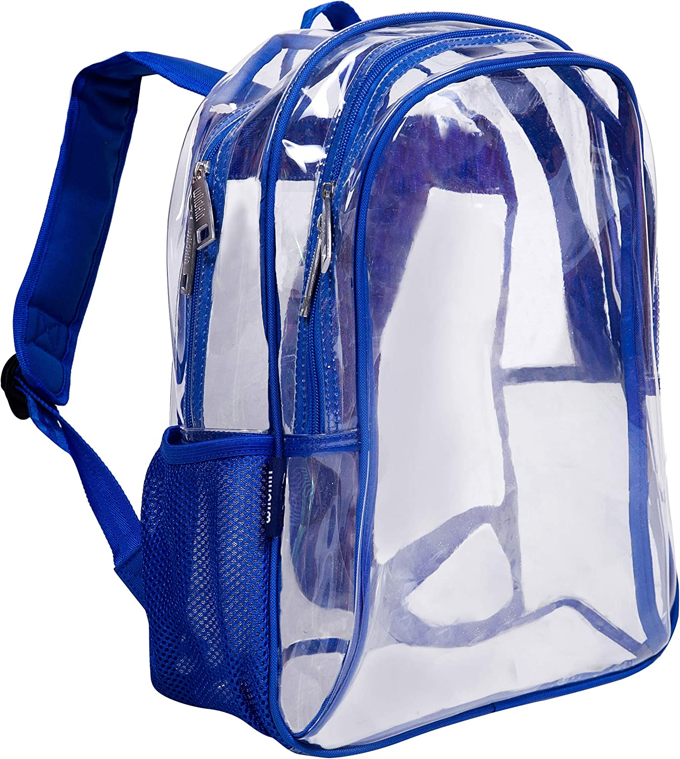 Wildkin Kids 15 Inch Backpack for Boys and Girls, Perfect Size for School and Travel, 600-Denier Polyester Fabric Backpacks Features Padded Back and Adjustable Strap, BPA-Free (Clear w Blue Trim)