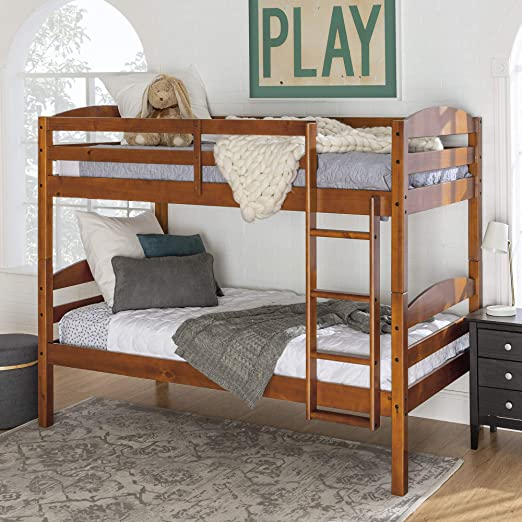 WE Furniture Wood Twin Bunk Kids Bed Bedroom with Guard Rail and Ladder  Easy Assembly, Cherry