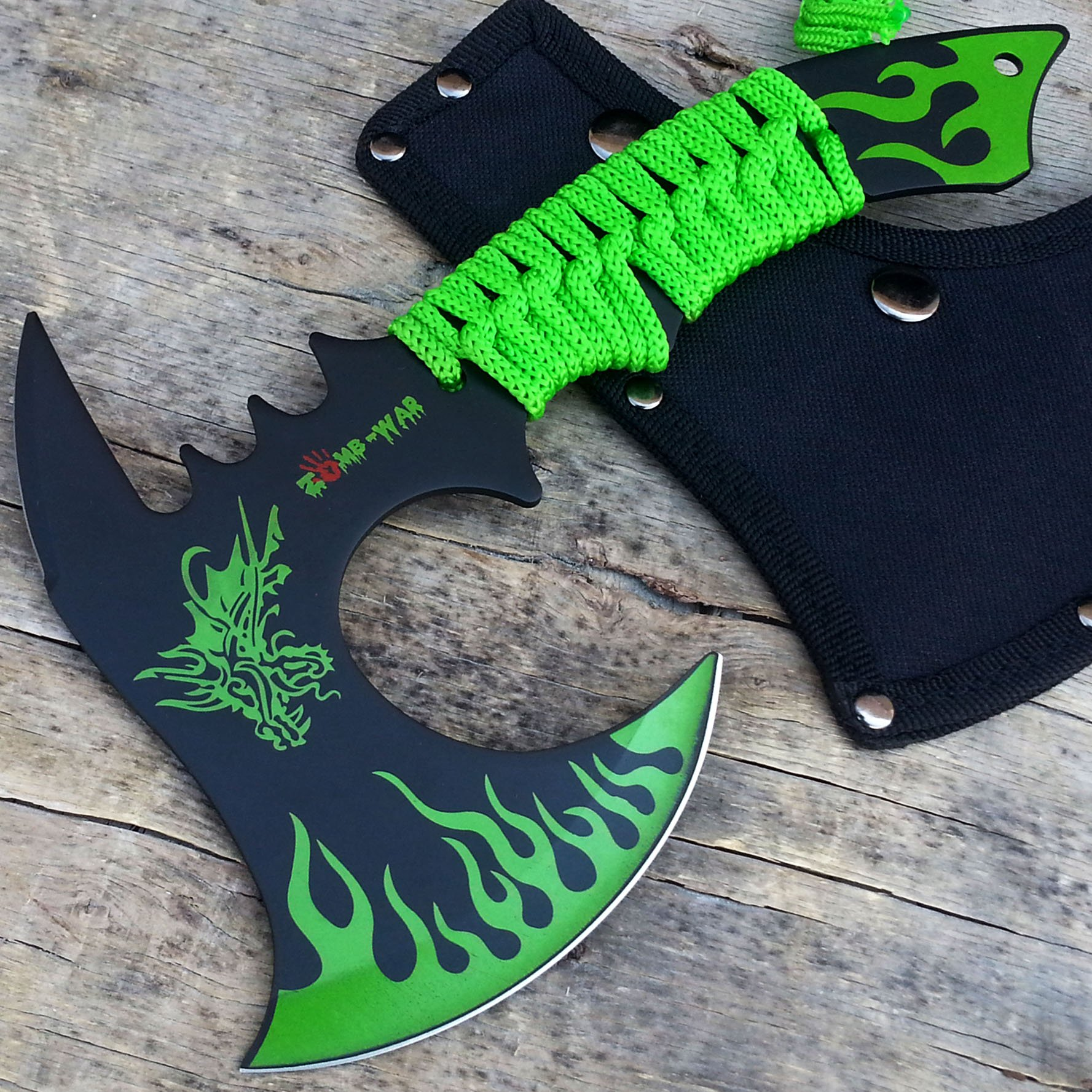 HUNT-DOWN 11'' Green Dragon Axe Outdoor Hunting Camping Survival Steel Axe   with Holt Multi Tool Key Chain