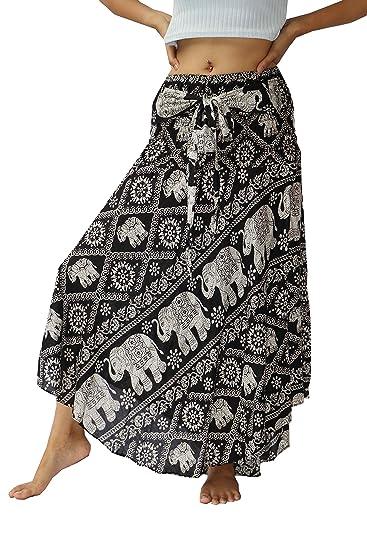 NaLuck - Faldas largas estilo boho hippie con impresión de flores ...