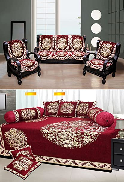 Stop N Shopp Super Drawing Room Floral Design Combo Poly Cotton Multi Color Sofa Covers