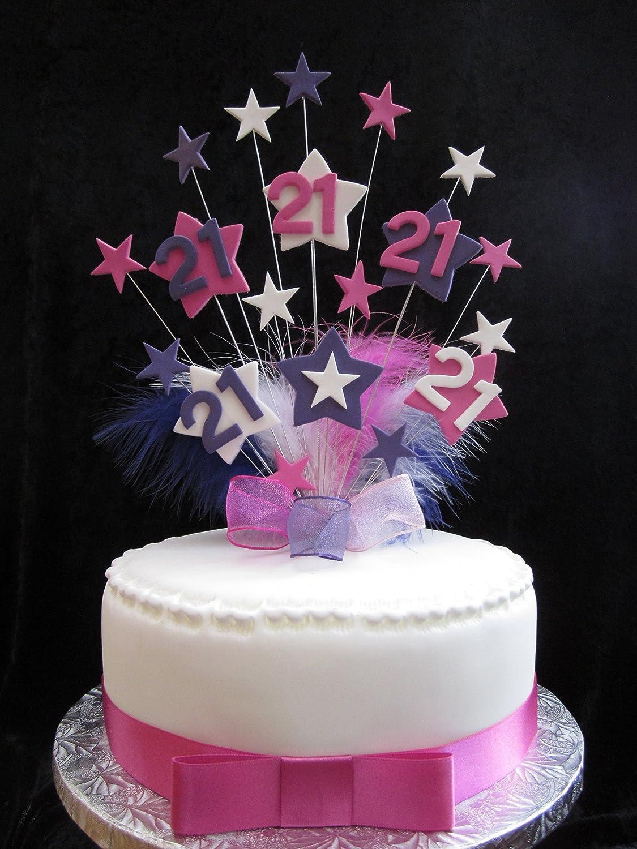 Strange 21St Hot Pink Purple White Star Birthday Cake Topper With Funny Birthday Cards Online Overcheapnameinfo