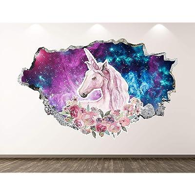 "West Mountain Unicorn Wall Decal Art Decor 3D Animal Sticker Mural Kids Room Vinyl Custom Gift BL48 (42"" W x 24"" H): Home & Kitchen"