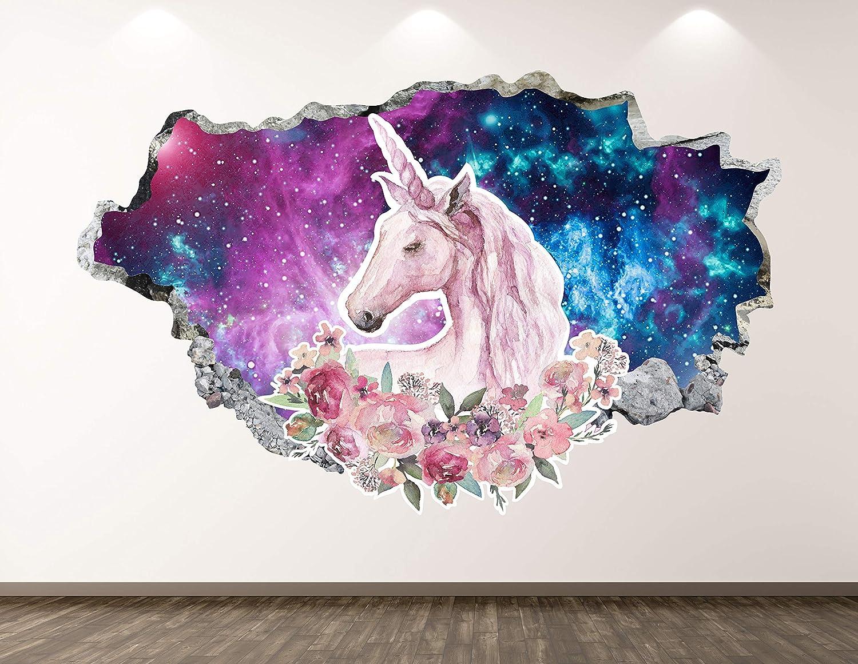 "West Mountain Unicorn Wall Decal Art Decor 3D Animal Sticker Mural Kids Room Vinyl Custom Gift BL48 (30"" W x 18"" H)"