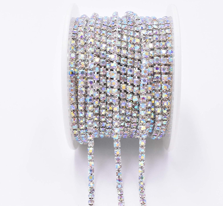 AB Art/&Beauty 11 Yard Crystal Rhinestone Close Chain Trim Sewing Craft 2.5mm AB Color