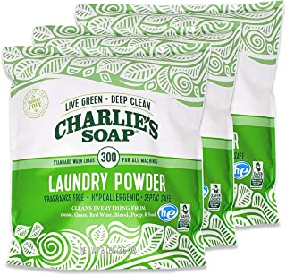 product image for Charlie's Soap Laundry Powder (300 Loads, 3 Pack) Hypoallergenic Deep Cleaning Washing Powder Detergent – Eco-Friendly, Safe, and Effective