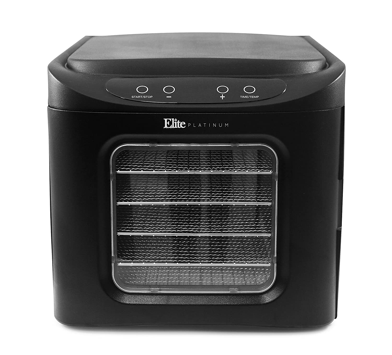 Elite Platinum Maxi-Matic EFD-313B Digital Food Dehydrator with Stainless Steel Trays, Adjustable Timer and Temperature Controls with Auto Shut-Off BPA-Free Trays, 6 Trays, Black