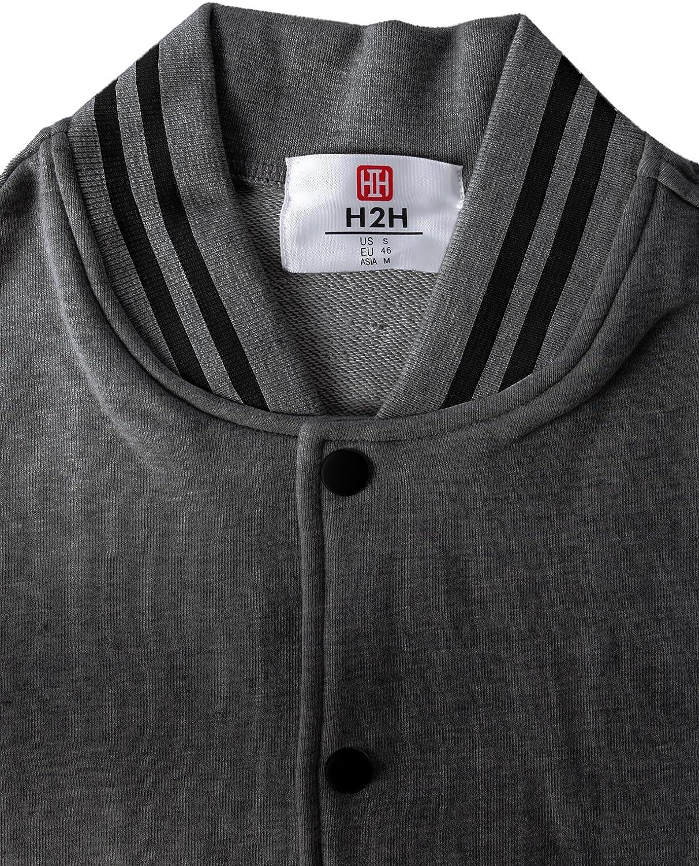 H2H Mens Slim Fit Varsity Baseball Bomber Cotton Lightweight Premium Jacket  Cmoja083-charcoalblack Small