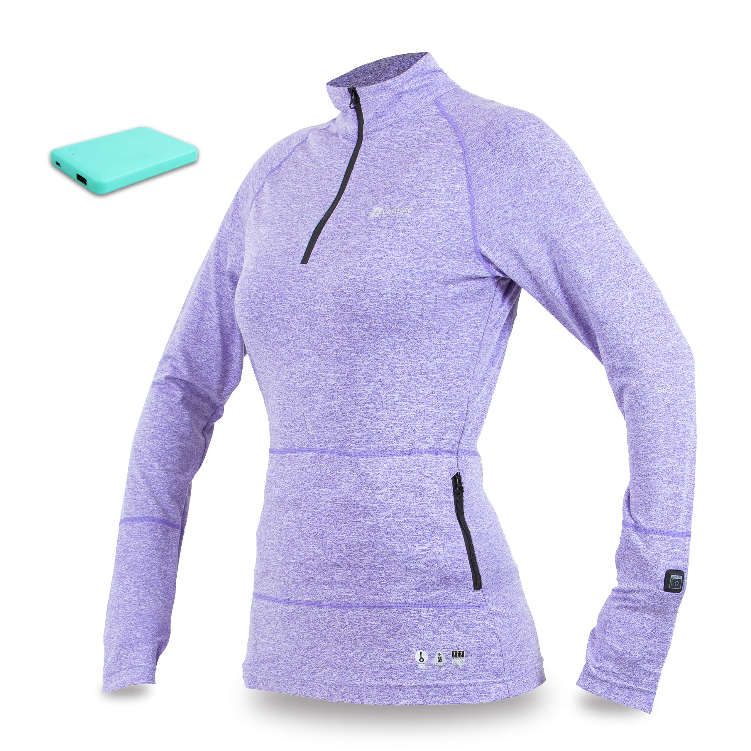 Venture Heat Women's Heated Shirt Thermal Underwear with Battery Pack - Long John, 1/4 Zip Electric Base Layer, Nomad (XL, Purple) by Venture Heat