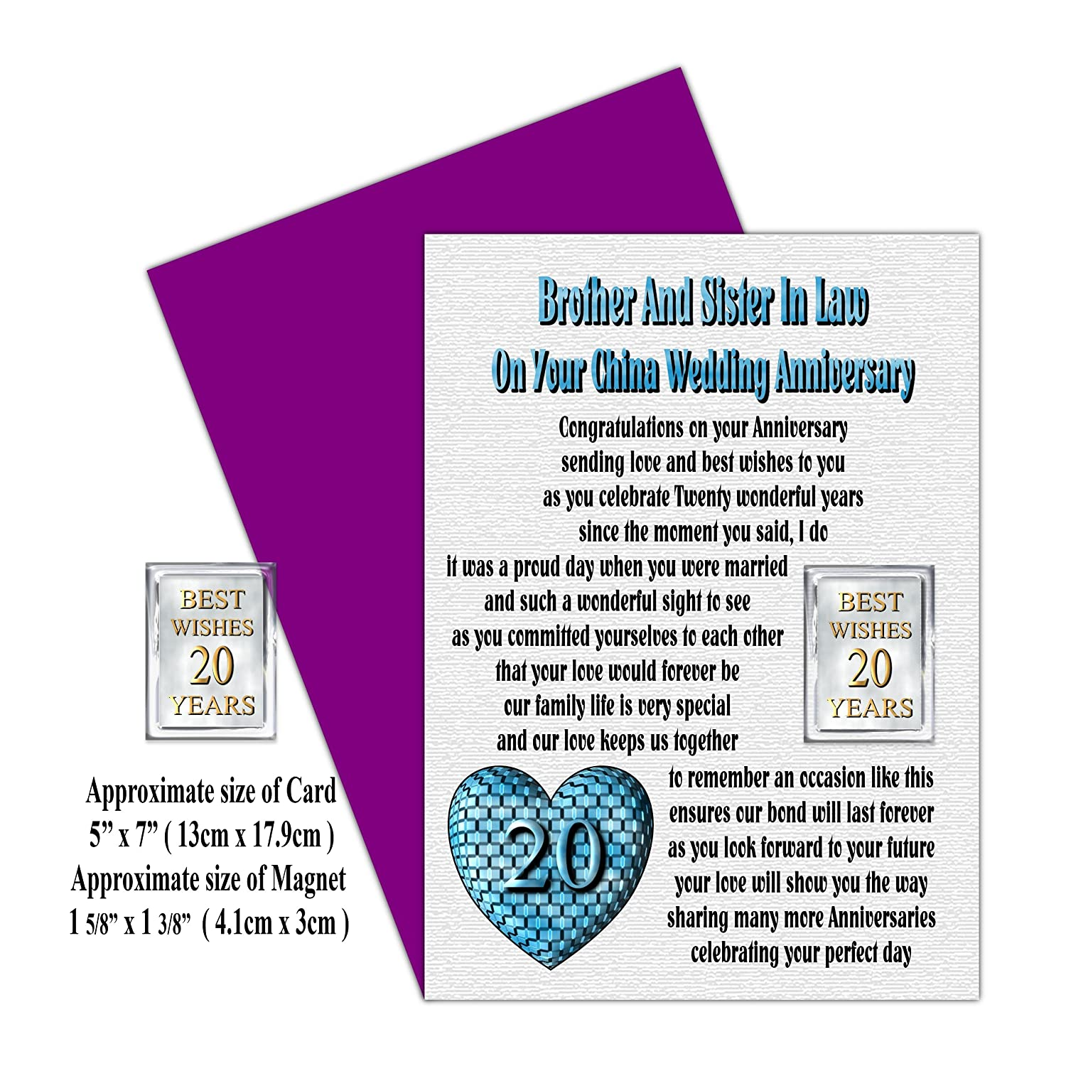 Brother Sister In Law 20th Wedding Anniversary Card With Removable