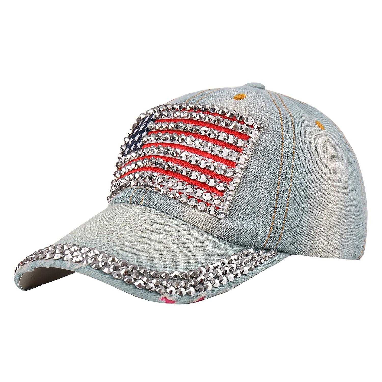 e3f6a69203b08 Raylans Adjustable Women Men Bling Rhinestone Denim Baseball Cap Hat (  1)  at Amazon Women s Clothing store