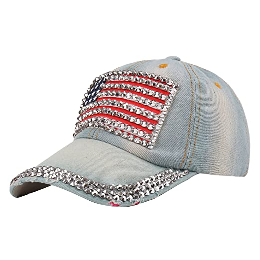 Raylans Adjustable Women Men Bling Rhinestone Denim Baseball Cap Hat (  1) 95fed876a36
