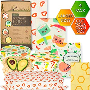 Beeswax Food Wraps - Plastic Food Wrap Alternative - Beeswax Wrap - Cute Bee Wrap Eco Friendly Products - Beeswax Wraps & Sustainable Food Storage - Reusable Food Wrap - Bees Wrap Kit - RF-FunEco