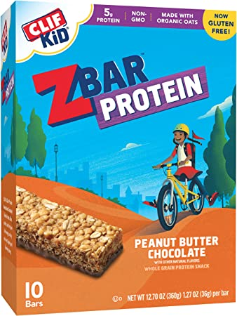 Clif Kid ZBAR - Protein Snack Bar - Peanut Butter Chocolate (1 27 Ounce  Gluten Free Bar, 10 Count)
