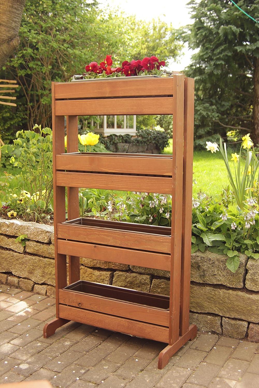 GartenDepot24 stabiles Frü hbeet Vertikalbeet Krä uterbeet Hochbeet Trennwand aus Holz mit 4 Kunststoffkä sten - B65 x T40/20 x H125 cm