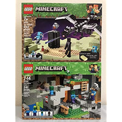 LEGO Minecraft The End Battle & LEGO The Zombie Cave: Toys & Games