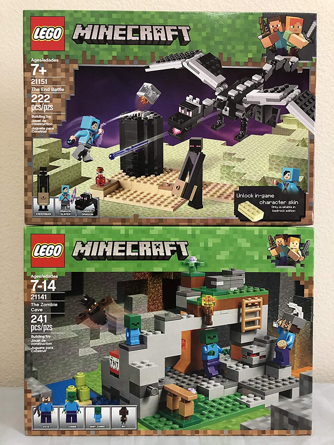 Amazon Com Lego Minecraft The End Battle Lego The Zombie Cave Toys Games
