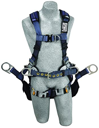 3M DBI-SALA ExoFit XP 1110302 Tower Climbing Harness, Front Back Side D-Rings, Belt w Back Pad, Seat Sling w Position Rings, QC Buckles, Large,Blue Gray