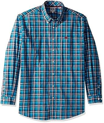 5c308d61475 Cinch Men s Classic Fit Long Sleeve Button One Open Pocket Plaid Shirt