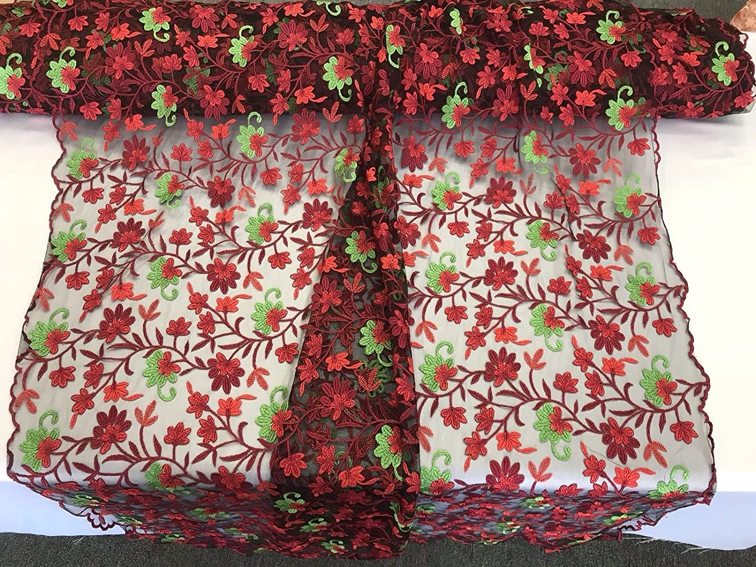 DARK RED  MULTI COLOR FLORAL DESIGN EMBROIDER ON A MESH LACE-SOLD BY YARD.