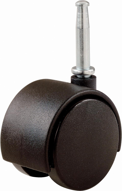 Shepherd Hardware 9418 2-Inch Office Chair Caster, Twin Wheel, 5/16-Inch Stem Diameter, 75-lb Load Capacity, 2-Pack, Black