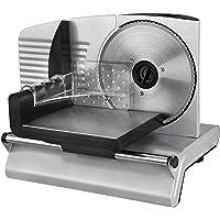 Team Kalorik Elektrischer Allesschneider/Brotschneidemaschine, Stufenlose Schnittstärkeneinstellung (0-15 mm), 200 W, Silber, TKG AS 1002