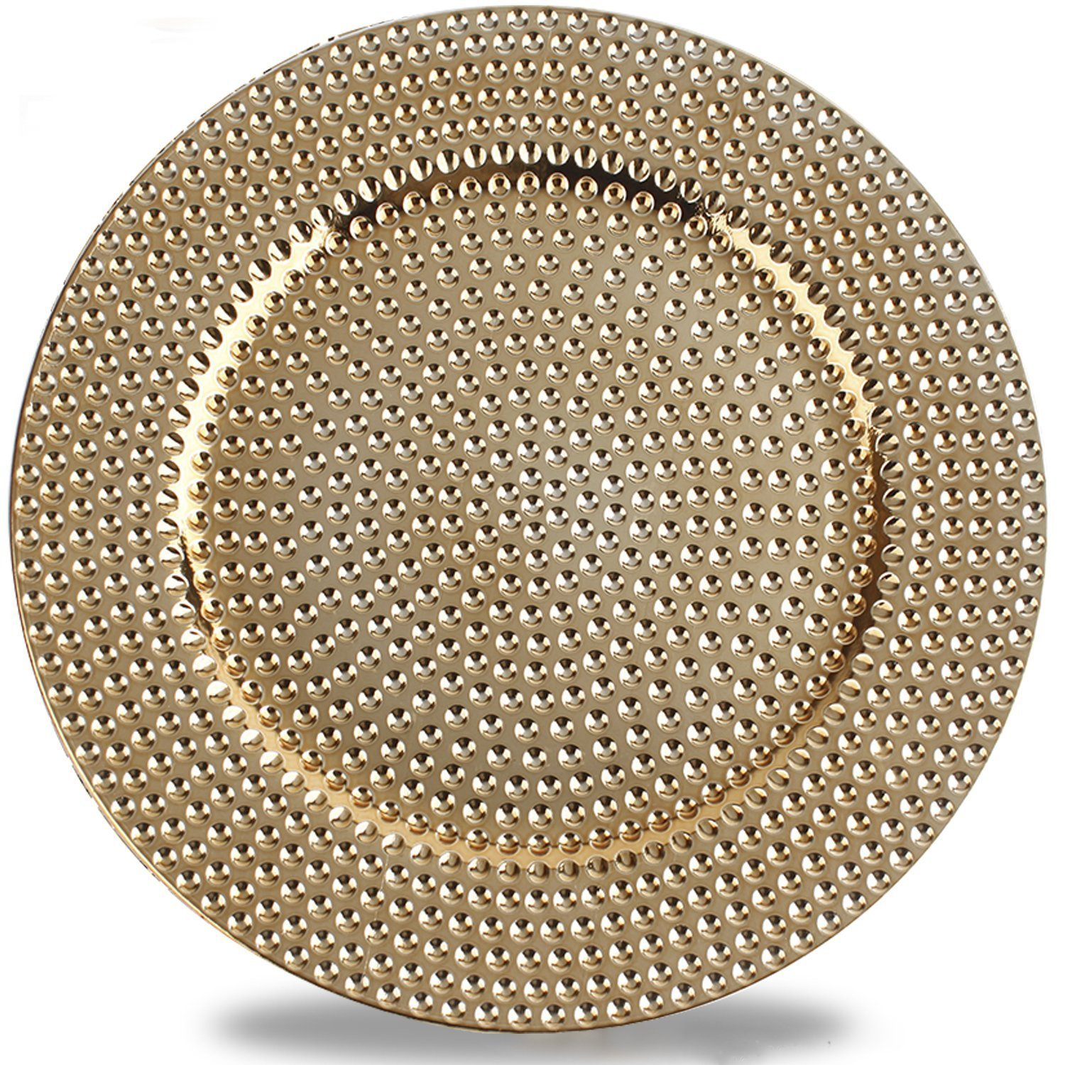 Benzara BM174288 Round Plastic Charger Plate, One Size, Gold