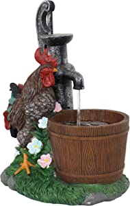 Sunnydaze Country Rooster Water Break Tabletop Fountain - Resin Indoor Water Fountain - Ideal Interior Home Accent Decor Piece for Office, Living Room or Bedroom - 17-Inch