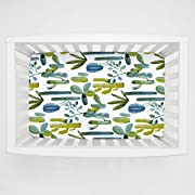 Carousel Designs Blue Painted Cactus Mini Crib Sheet 1-Inch-4-Inch Depth - Organic 100% Cotton Fitted Mini Crib Sheet - Made in The USA