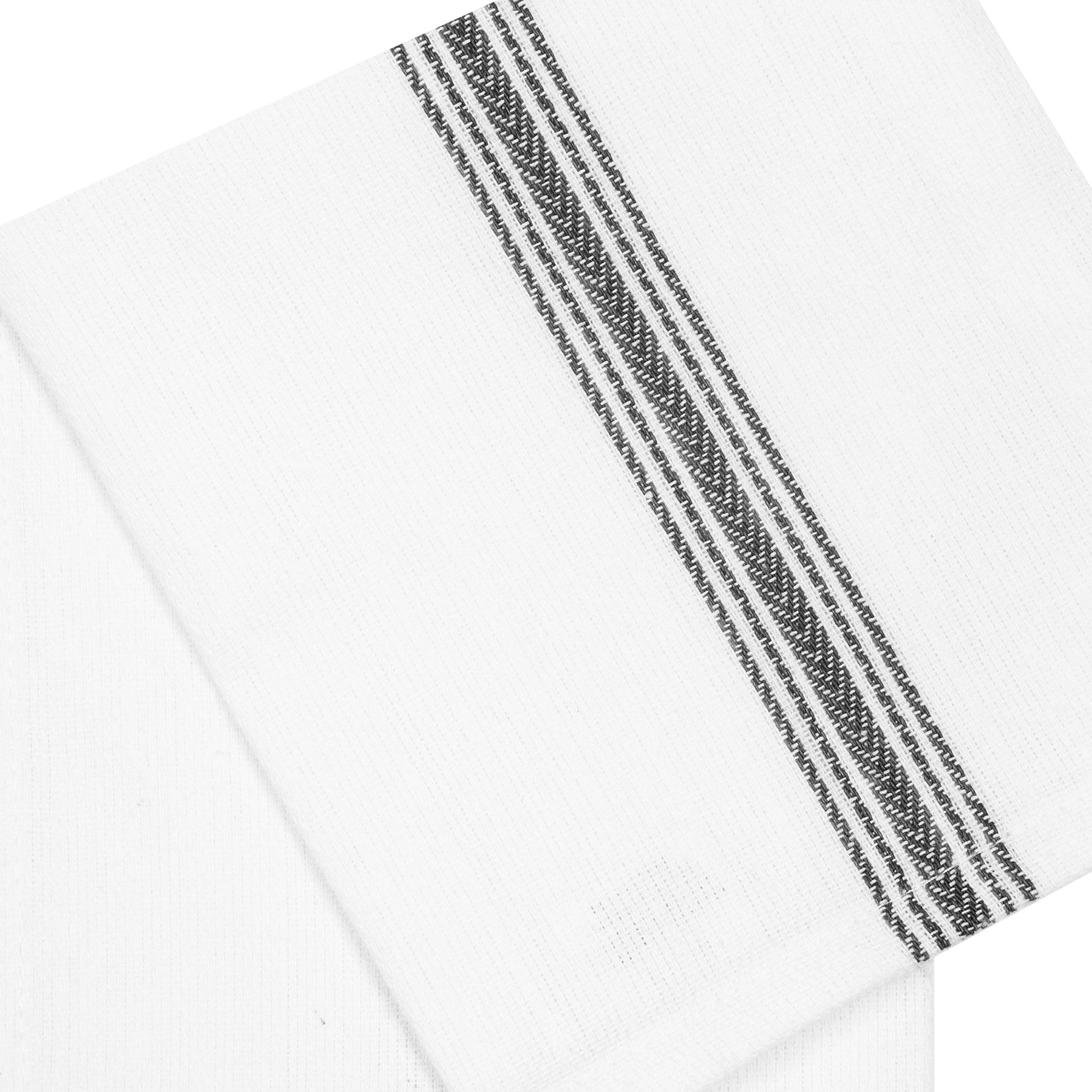Cotton Craft - Scandia Stripe Charcoal & White 12 Pack Superior Professional Grade Kitchen Dish Tea Towels - May Also be Used as Napkins - 16x28 30 Ounces Pure 100% Cotton, Low Lint, Sturdy Weave by Cotton Craft (Image #2)