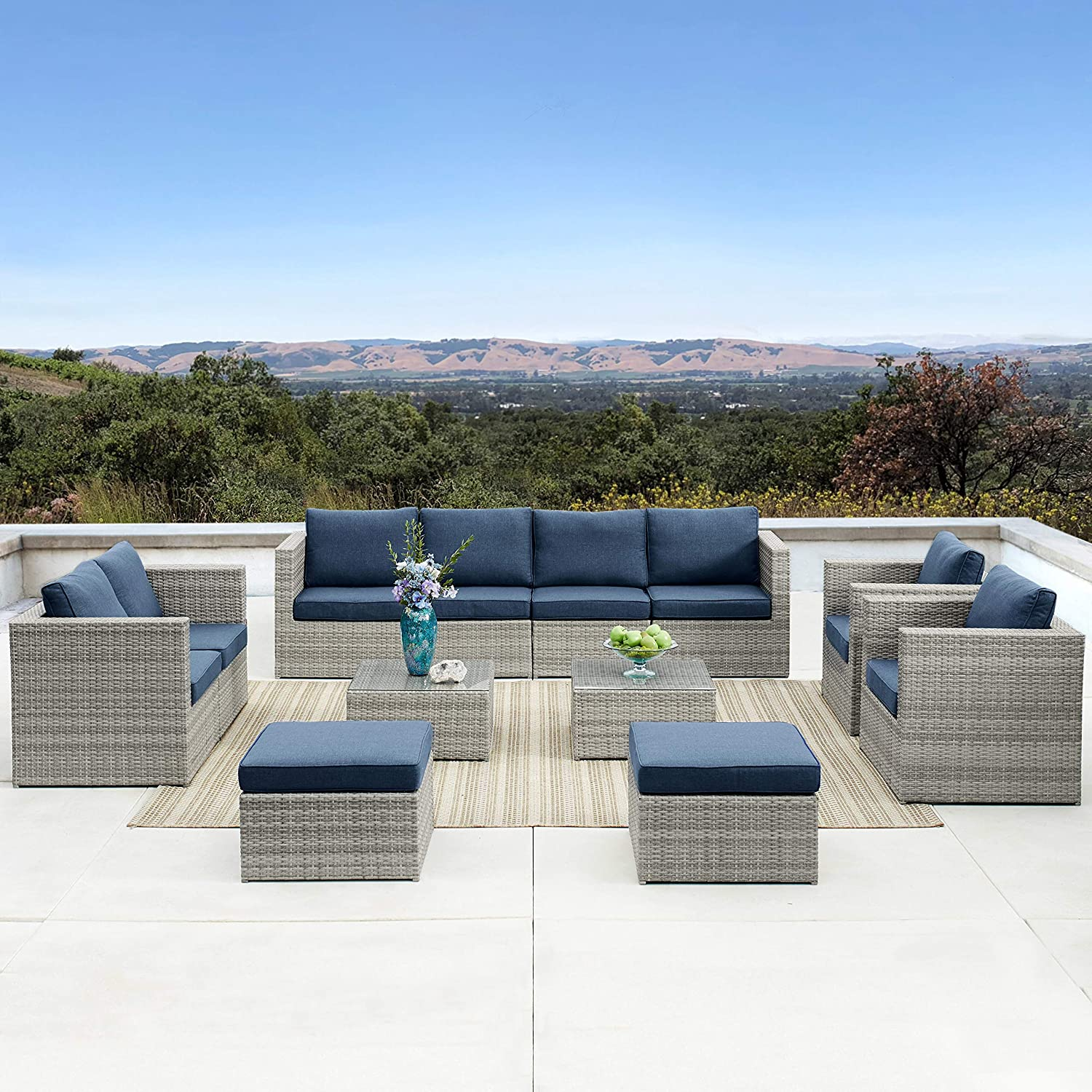 Outdoor Furniture 12 Pieces Garden Patio Sofa Set Wicker Rattan Sectional with Cushions No Assembly Required Aluminum Frame