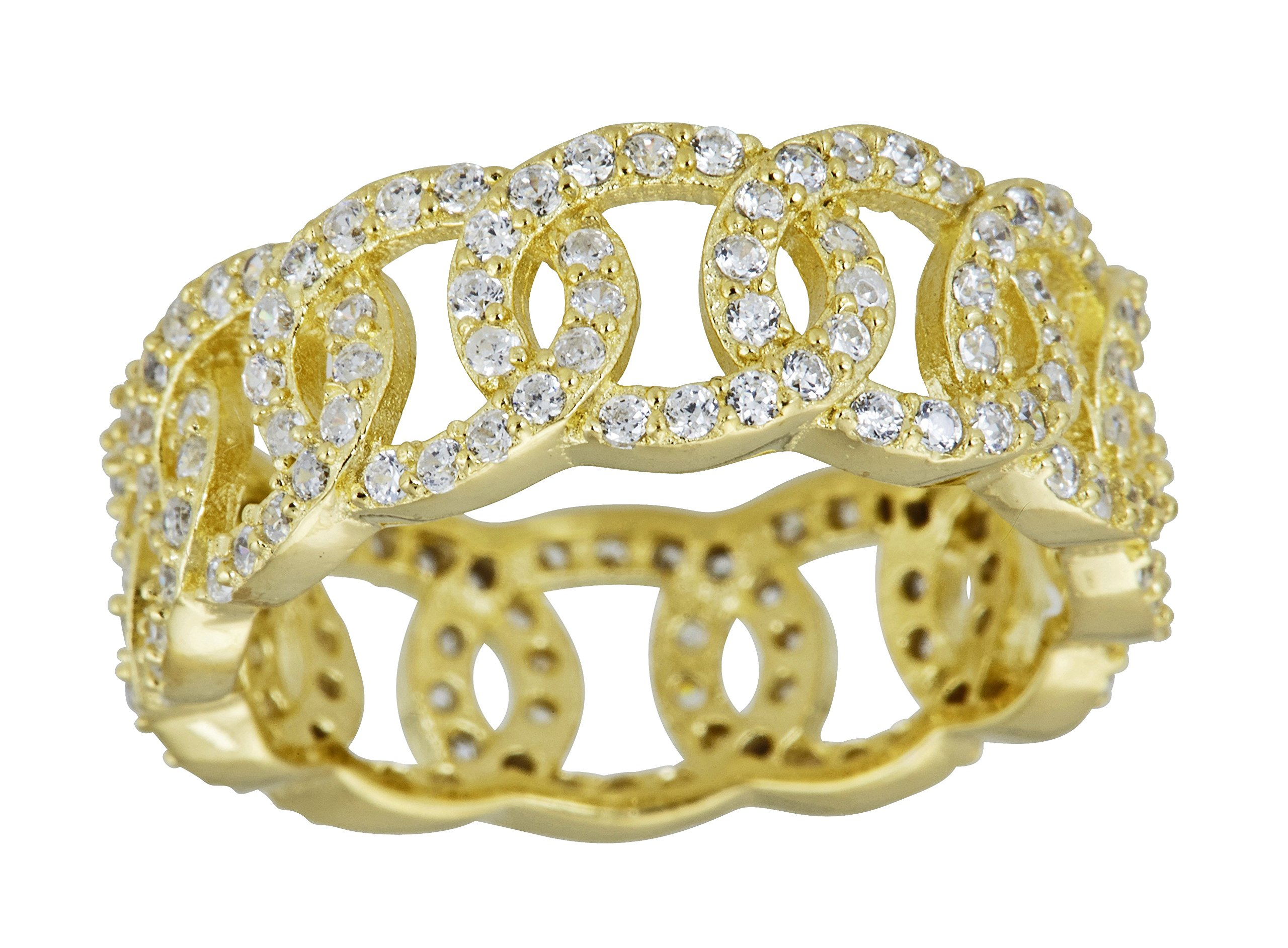 Sterling Silver Cubic Zirconia Pave Olympic Eternity Band Ring