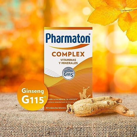 Pharmaton Complex, multivitamínico con Ginseng G115, Ayuda a recuperar la energía, 60 cápsulas blandas