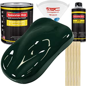 Restoration Shop - British Racing Green Acrylic Enamel Auto Paint - Complete Gallon Paint Kit - Professional Single Stage High Gloss Automotive, Car, Truck, Equipment Coating, 8:1 Mix Ratio, 2.8 VOC