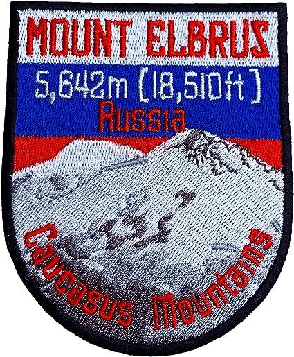 En Rusia Elbrus juego antiparasitado de 9 cm hierro bordado en insignia de montaña escalada Trek decorativos del recuerdo de los viajes twistfix ...