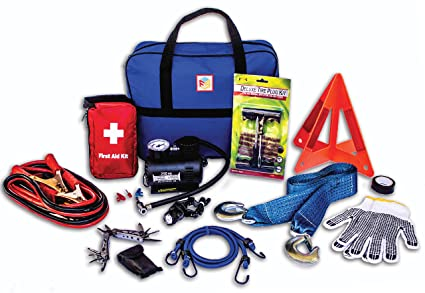 First Secure 90 Piece Roadside Emergency Car and Truck Kit with Safety Tools & Accessories Bag