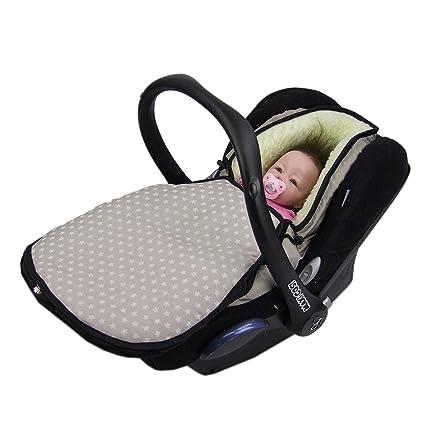 Bambiniwelt Winterfußsack Für Babyschale Kompatibel Mit Maxi Cosi Cabrio Fix Pebble Citi Mit Wolle Sterne Sterne Beige Wolle Xx Baby