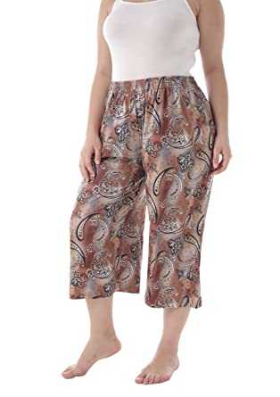 139a0576e102a3 ZERDOCEAN Women's Plus Size Printed Stretchy Relaxed Lounge Capris with  Pockets 001 1X