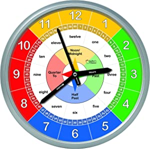 Educational Wall Clock - Silent Movement Time Teaching Clock for Teacher's Classrooms and Kid's Bedrooms