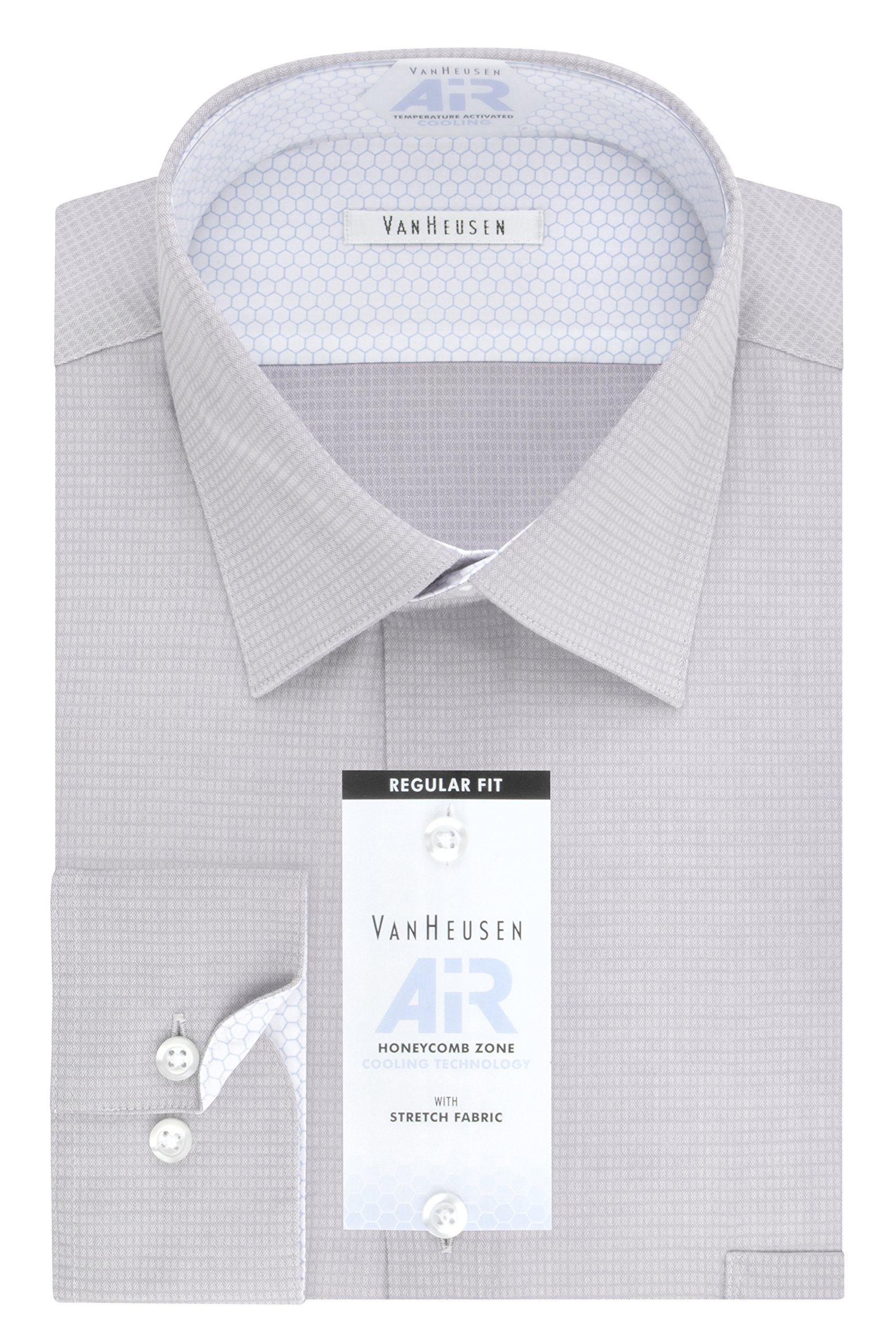 Van Heusen Men's Air Regular Fit Solid Spread Collar Dress Shirt, Aluminum, 15.5'' Neck 32''-33'' Sleeve
