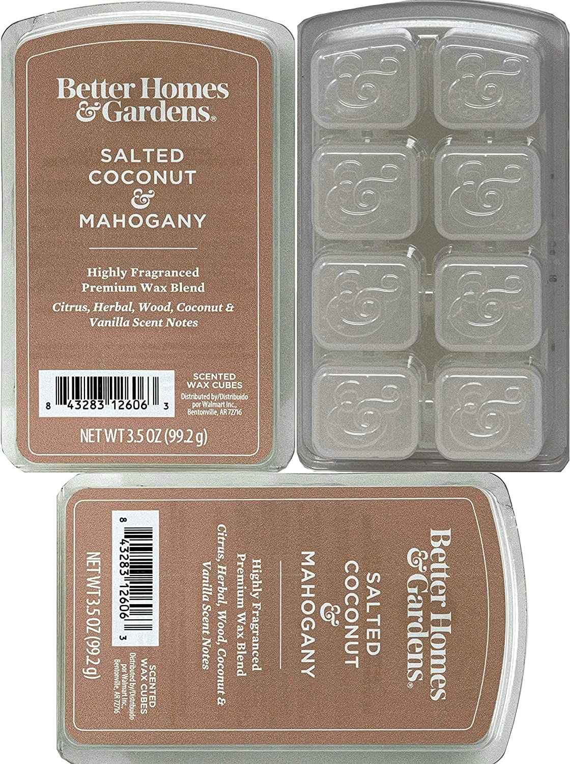 Better Homes and Gardens - Salted Coconut and Mahogany 3.5oz Scented Wax Cubes 3-Pack