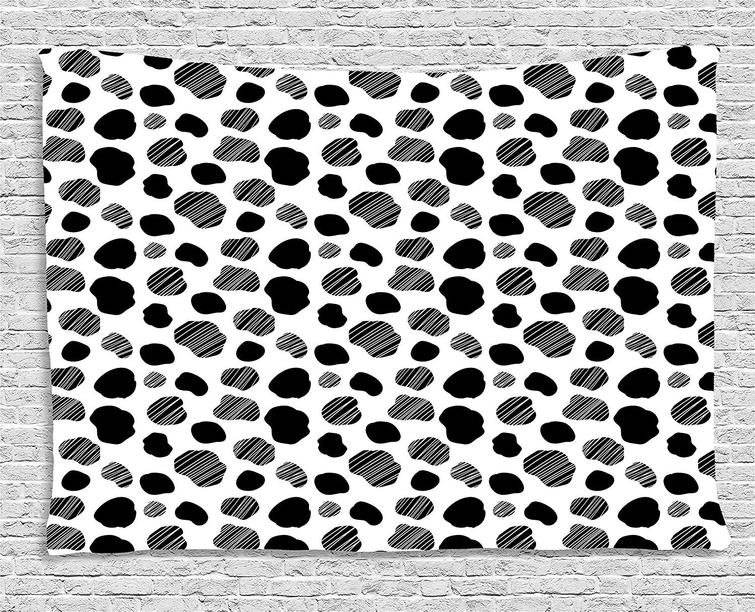 Cow Print Tapestry, Black and White Striped Dots with Abstract Style Farm Animal Hide Agriculture, Wall Hanging for Bedroom Living Room Dorm, 80 W X 60 L Inches, Black White